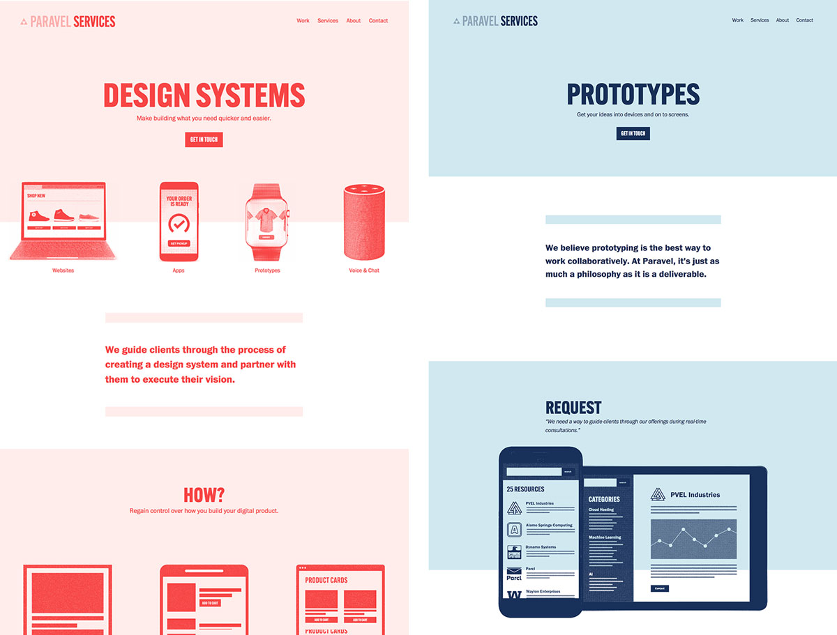 Paravel design systems and prototypes pages